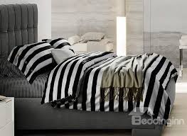 white stripe soft cotton bedding sets