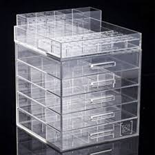 whole customize acrylic clear cube cosmetic makeup display showcase organizer storage box with 5 drawers