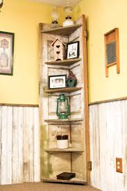 a old door made into a rustic corner shelf for my kitchen recycling old wood is awesome