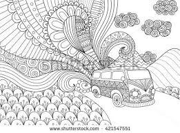 van line art design for coloring book for