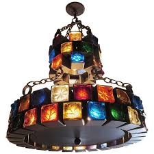 multi colored glass brutalist chandelier by feder for