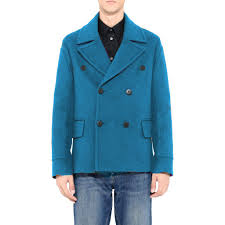Mens Light Blue Peacoat Mens Custom Made To Order 100 Boiled Wool Short Pea Coat Choice Of Styles Colours