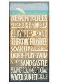 beach rules for wall decor coastal