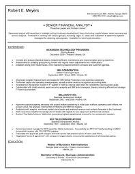 Senior Financial Analyst Resume Sample Senior Financial Analyst