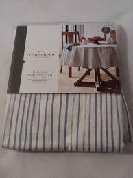 threshold 70 round tablecloth seats 4 6 white light blue stripe 100 cotton