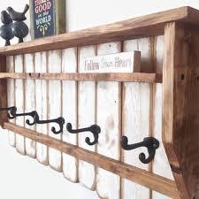 reclaimed wood mug rack urban rustic. White Entryway Wood Shelf With Hooks / Rustic Pallet Coat Rack Reclaimed Shelves Mug Urban I