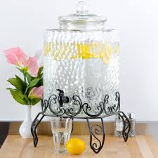 glass drink dispenser with metal spout designs