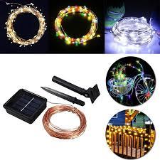 Zonne Energie String Lichtslang Waterdicht Led Strip 10m 100 Led Koperdraad Lamp Warm Wit Voor Buiten Kerstdecoratie Verlichting
