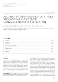 pdf apixaban in the prevention of stroke and systemic embolism in nonvalvular atrial fibrillation