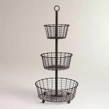 tiered storage baskets 3 antique white metal three tier basket stand bathroom bin bas