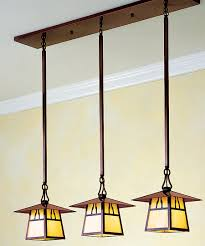 the carmel three light in line chandelier is one of many arts crafts inspired fixtures by arroyo craftsman photo courtesy of arroyo craftsman