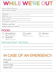 babysitter information sheet printable printable babysitter notes babysitter notes babysitting and note