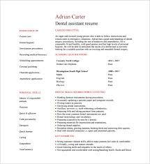Dental Assistant Resume Templates Resume Templates For Word Dental Assistant Resume Template 7 Free