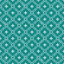 White And Dark Teal Fleur De Lis Pattern Textured Fabric Background