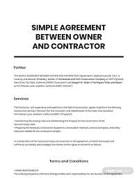 This independent contractor agreement governs the relationship between a company & independent contractor. Free Simple Agreement Between Owner And Contractor Template Word Doc Apple Mac Pages Google Docs