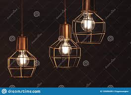 Chandelier With Hanging Three Bulb Led Lamps Stock Image Image Of