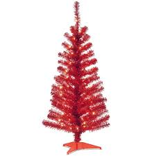 National Tree Co Tinsel Trees 4Red Artificial Christmas Trees