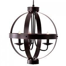 3 light metal orb chandelier bronze finish for transitional dining room lighting ideas