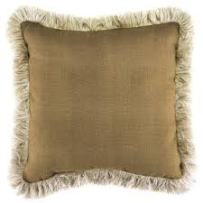 jordan manufacturing sunbrella linen straw square outdoor throw pillow with canvas fringe