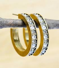 gold digger hoop earrings in color palette all crystal by patricia locke