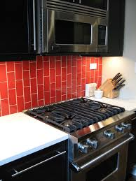 Red Kitchen Tile Backsplash Backsplashes Glass Tile Backsplash Ideas Kitchen Cabinets