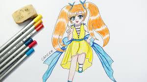 Hướng Dẫn Bé Tập Vẽ Và Tô Màu Công Chúa Cung Cự Giải ~ Drawing Cancer  Princess - YouTube