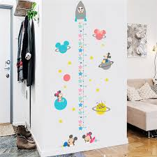 Us 3 22 20 Off Baby Mickey Minnie Growth Chart Wall Stickers For Boys Room Home Decoration Kids Height Measure Poster Cartoon Anime Mural Art In