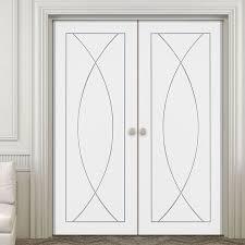 white double door. Simpli Double Door Set, Pesaro Flush - Primed White