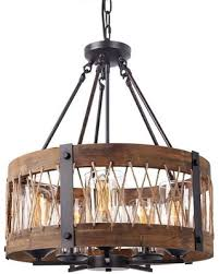 wood and metal chandelier. Foster 5-Bulb Wood And Metal Chandelier L