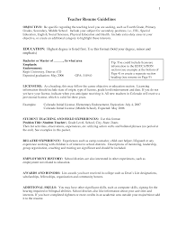 Resume Adorable Sample Objective Teaching Resume On Stunning
