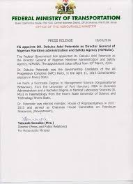 Dakuku Peterside Letter Of Appointment Puo Reports
