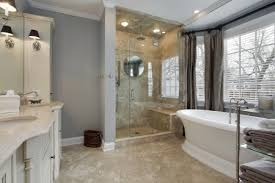 full bathroom with tub shower and shower bench