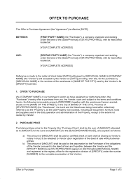 Letter Of Offer Template Offer To Purchase Real Estate Property Template Word Pdf