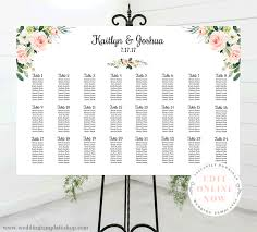 Table Seating Chart Online Wedding Seating Chart Poster Landscape 36x24 Blush Florals Edit Online