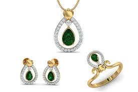 ameena emerald diamond pendant set