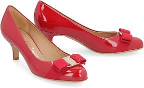 salvatore ferragamo patent leather pumps with vara bow red
