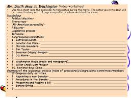 civics daily lessons ppt video online  mr smith goes to washington video worksheet