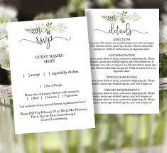 Wedding Enclosure Card Template Small Greenery Wedding Enclosure Cards Printable Rsvp Detail Card