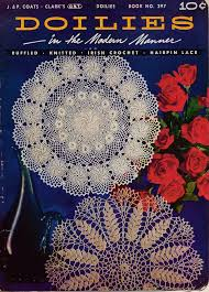 doilies modern manner crochet knitting hairpin lace ruffled patterns 1953 vtns coatsclark patternbook