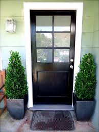admirable black wooden single half modern front door with 6 frosted lite and nickel brushed knob