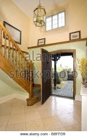 open front door. Open Front Door A House Interior Entrance Hall Stock Photo  .
