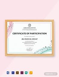 Choir Certificate Template Free Choir Certificate Of Participation Template Word