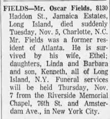 Obituary for Oscar Fields - Newspapers.com