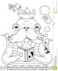 Sailor Walrus Adult Coloring Page Stock Illustration - Image: 70974642