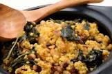 black eyed peas and greens with millet