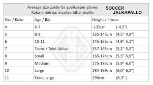 Goalkeeper Glove Size Chart Goalkeeper Gloves Size Chart