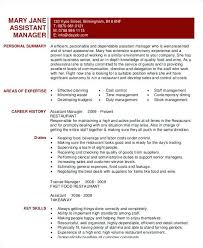 Resume Template For Restaurant Manager Assistant Restaurant Manager Resume Template Hr Cv Jaxos Co