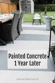 painted concrete slab and brick pavers