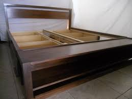 Custom Made King Size Bed Frame With Storage And Bench On Foot Board ...