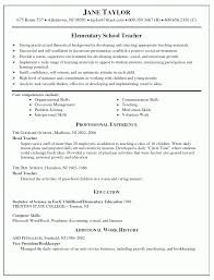 Elementary School Teacher Resume Examples Elementary School